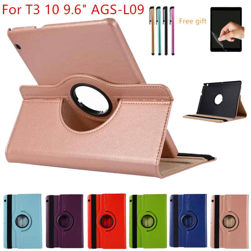 "Case For Huawei MediaPad T3 10 9.6inch AGS-L09-L03 W09 Leather Cover 360 Rotating Tablets for Honor Play Pad 2 9.6""Case+Film+Pen"