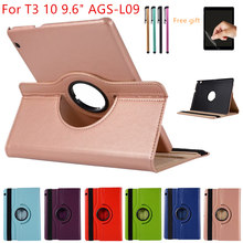 "Case Voor Huawei MediaPad T3 10 9.6inch AGS-L09-L03 W09 Leather Cover 360 Roterende Tabletten voor Honor Play Pad 2 9.6 ""Case + Film + Pen(China)"