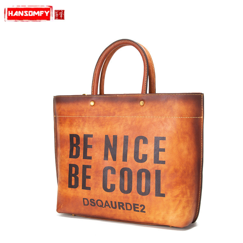 New Fashion Women handbags first layer leather female shoulder bag ladies letter personality retro tote crossbody messenger bags handbags women genuine leather shoulder bags first layer of leather bag ladies crossbody bags new product female messenger bags