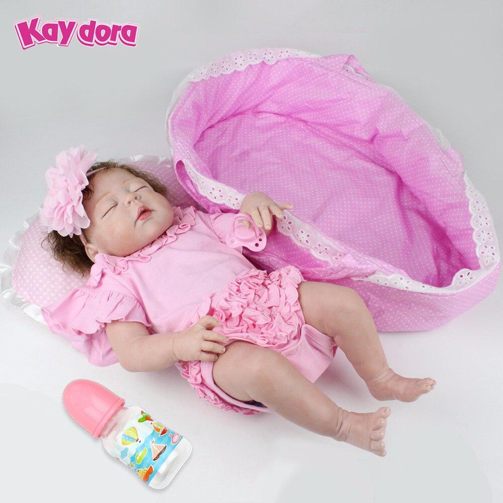 KAYDORA 22 polegada 55 cm Completa Silício Renascer Lifelike Renascer Baby Dolls Handmade Vivo Dormir Bebês Da Menina Brinquedos de Presente de Natal