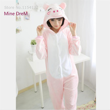 Купить с кэшбэком Kigurumi Pink pig onesies Pyjamas Cartoon Animal Cosplay Costume Pajamas adult Onesies Sleepwear Halloween