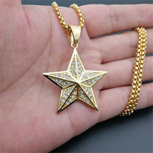 цена на Hip Hip Iced Out Bling Star Pendant Necklace For Men/Women Gold Color Stainless Steel Pentagram Necklace Golden Jewelry T1401