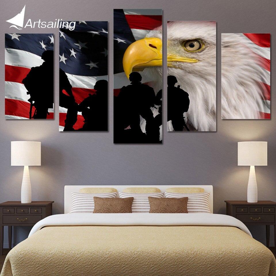 5 Piece Canvas Art Rustic USA Flag Printed Wall Art Home