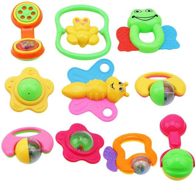 6pcs/set Baby Toys Plastic Non toxic Colorful Hand Jingle