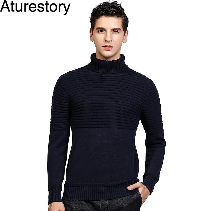 Aturestory Winter Mens Turtleneck Cotton Sweaters England