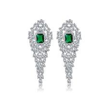 цена на Luxury Bridal Jewelry Heavy AAA Zircon Unique Long Dangle Earrings Women Gift Wedding party  Accessories
