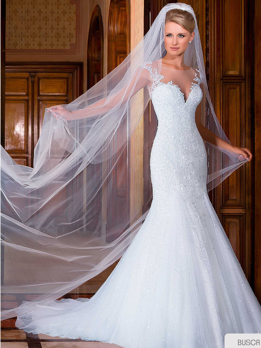 Vestido-de-noiva-New-Design-Sheer-Neck-Cap-Sleeve-Mermaid-Appliques-Beading-Court-Train-Tulle-Wedding (1)