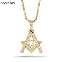VANAXIN Paved Punk Iced Out Pendant G Necklace Initial Masonic Symbol Compass Free Mason AAA CZ Crystal Jewelry Fine Quality Box