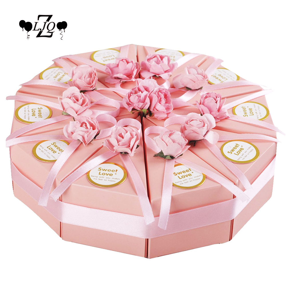 ZLJQ 50pcs DIY Paper Gift Candy Box Cake Wedding Boxes Party Favour Candy Gift Boxes for Christmas New Year Parties Baby Shower ...