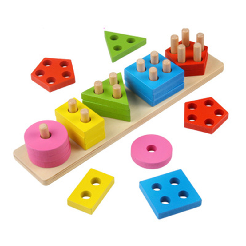 Montessori Children Wooden Five-column Shape Matching Geometric Block Set Toys Baby Intelligence Color Recognition Hot Sale u convex pouch color block geometric splicing band boxer brief