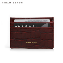 Hiram Beron Make Your Own Case Italian Leather Card Holder Womens Thin Wallet Crocodile Pattern dropship