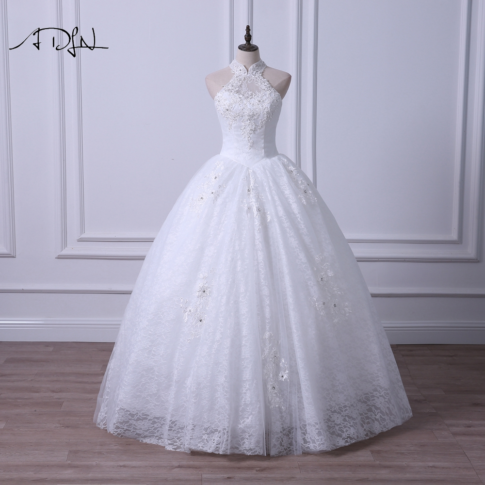 Online Shop ADLN Elegant Halter Ball Gown Wedding Dress Lace ...