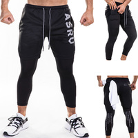 Fake 2 IN 1 Men's Calf Length Pants Gyms Fitness Camouflage Tight Elastic Pants Quick drying Leggings