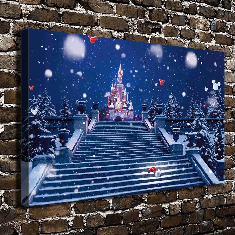 a0125 snowy night castle of stairs landscape.hd canvas print home