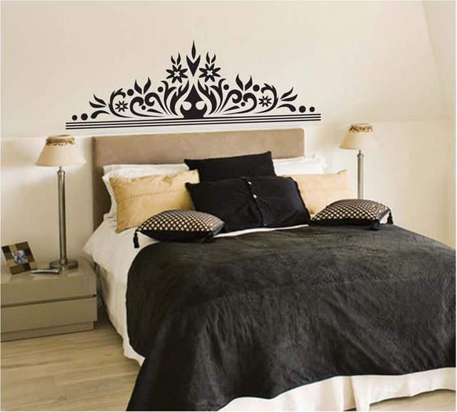 Nero etichetta fiore sfondo TV camera da letto murales casa arredamento  vinile deco art notte
