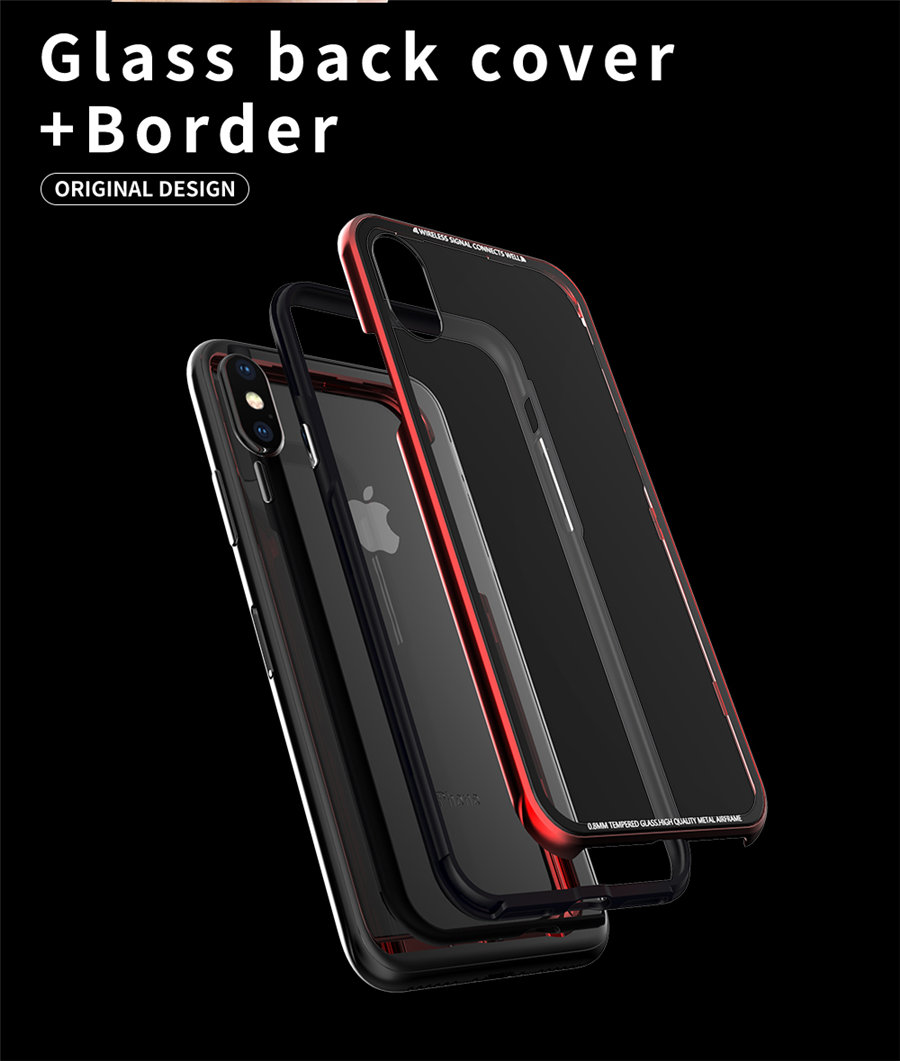 Luxury Aluminum Phone Cases For iPhone X Original R-just Hardness Tempered Glass Cover Case For iPhone X 10 Accessories (3)