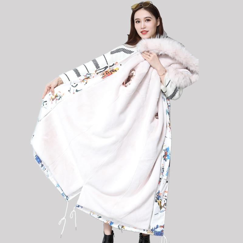 Nerazzurri Winter detachable fur lining   parka   women hooded plus size long faux fur liner coat 5xl 6xl ladies thick windbreaker