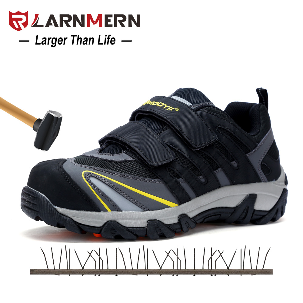 LARNMERN Men Safety Shoes Steel Toe Steel Plate Breathable Suede Leather Mesh Work Sneakers Magic Tape