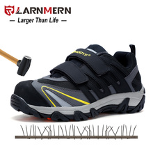 LARNMERN Men Safety Shoes Steel Toe Steel Plate Breathable Suede Leather Mesh Work Sneakers Magic Tape Protective Footwear