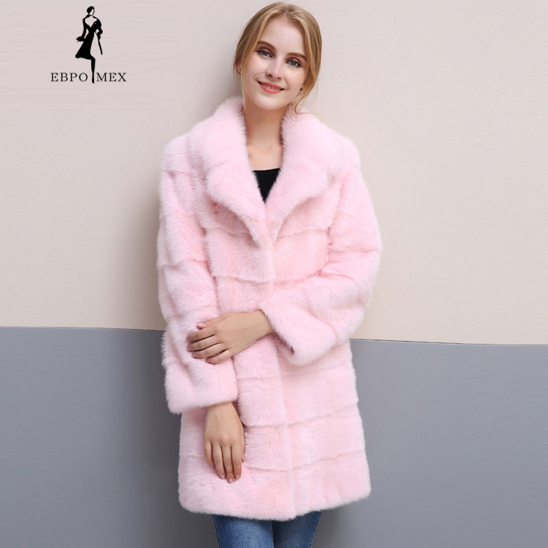2018 Fashion Slim Solid winter light pink fur coat import mink fur coat high quality real fur mink fur coat Suit collar