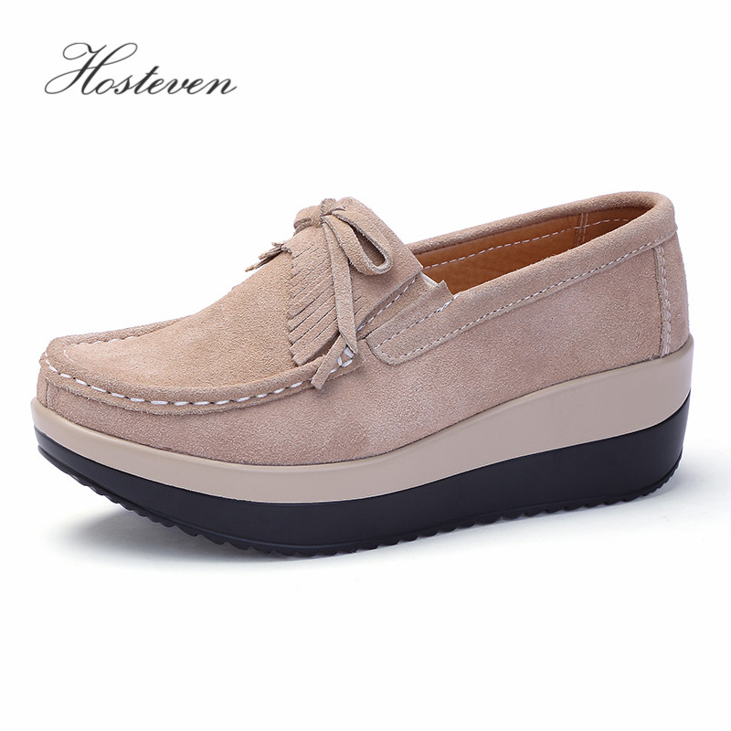 Hosteven Women Shoes Cow   Suede     Leather   Black Flat Platform Sneaker Wedding Loafers Moccasins Female mocassins shoes