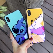 Blue-ray Tempered Glass Case For iPhone 7 8 6 6s Plus XS MAX XR X Pooh Stitch Cute Cartoon Soft TPU Protect Cover