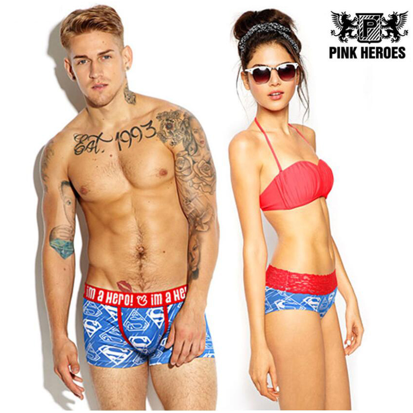 Pink Heroes Couple Panties Underwear Brand Men Boxers Women Lingerie Homme Cuecas Cotton Sexy Knickers Male Lady Lace Underpants