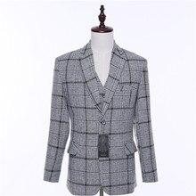 Moda mens casual blazers casamento jacket casacos masculino américa luz cinza xadrez estilo britânico único blaser formais personalizado