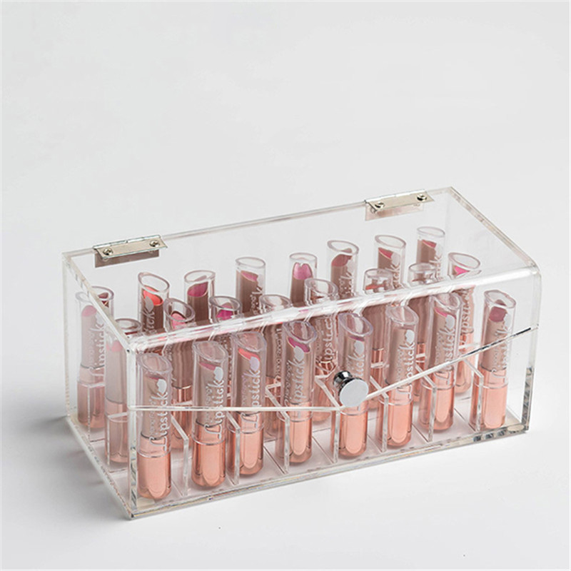 24 Lipstick Holder Display Stand Tool Clear Acrylic Cosmetic Organizer Makeup Case Sundry Storage Makeup Organizer Storage Box large box acrylic makeup cosmetic case stand insert holder rack organizer glossy makeup organizer 3 layer drawers transparent