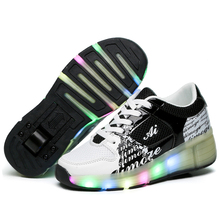 Children Fashion Mesh Sneakers with Led Light for Boys and Girls Lace Up Kid Breathable Roller