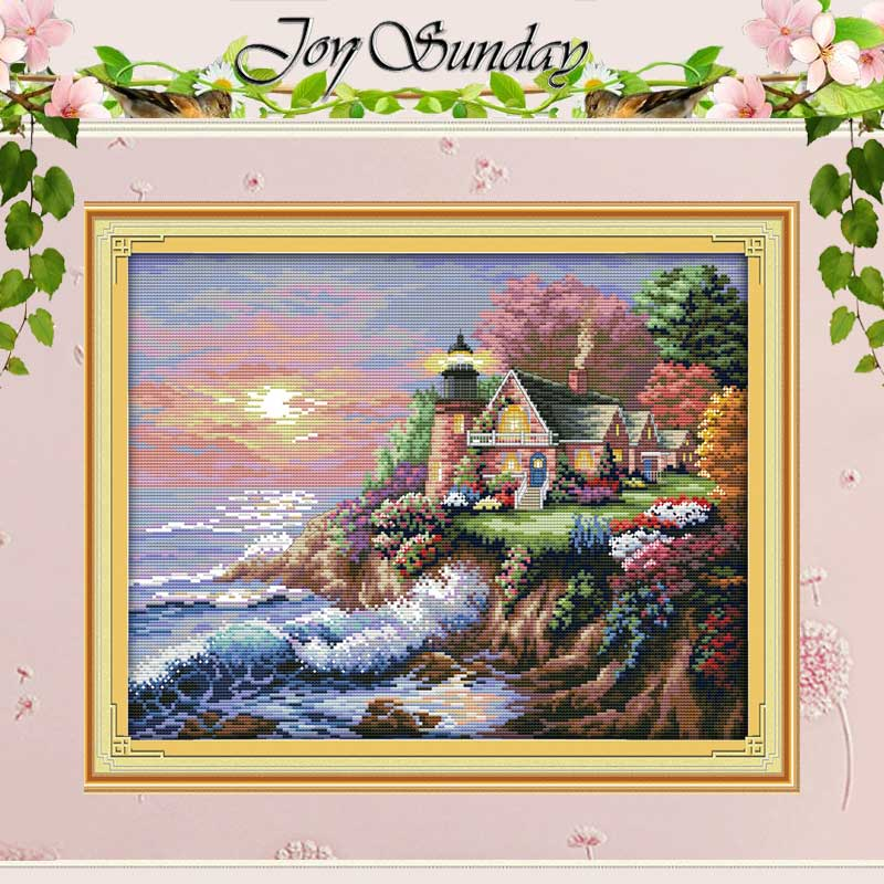 The Seaside Lighthouse Counted Cross Stitch 11CT 14CT Cross Stitch Sett Engros Scenic Cross Stitch Kit Broderi Needlework