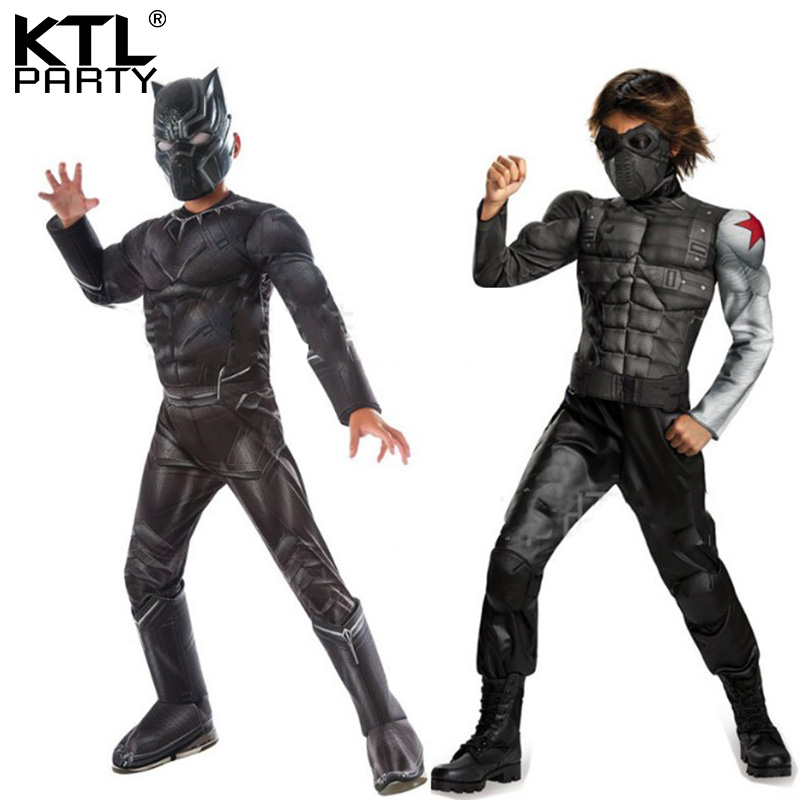 Adult halloween party cosplay winder solier Black Panther muscle costume Captain America Civil War movie clothing