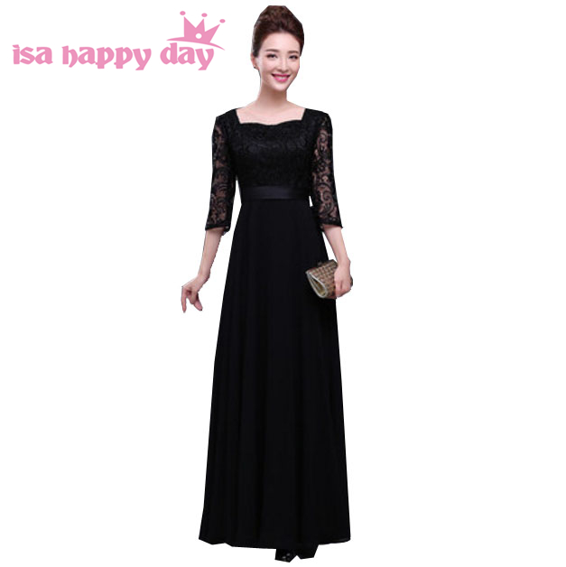 faironly long black formal gown dress party lace sleeve modest ...