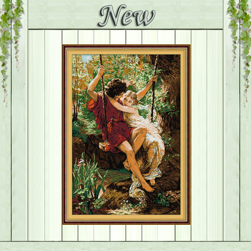 Happy Time,11CT Counted Printed On Canvas DMC 14CT Cross Stitch Embroidery Kit,Needlework Set LOVE,lovers On The Swings Together