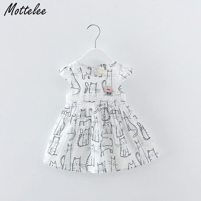 Mottelee Infant Girls Cotton Dress Print Fashion Baby Dresses Toddler Cartoon Frocks Kids Flower Clothing for Girl 0-3 Years