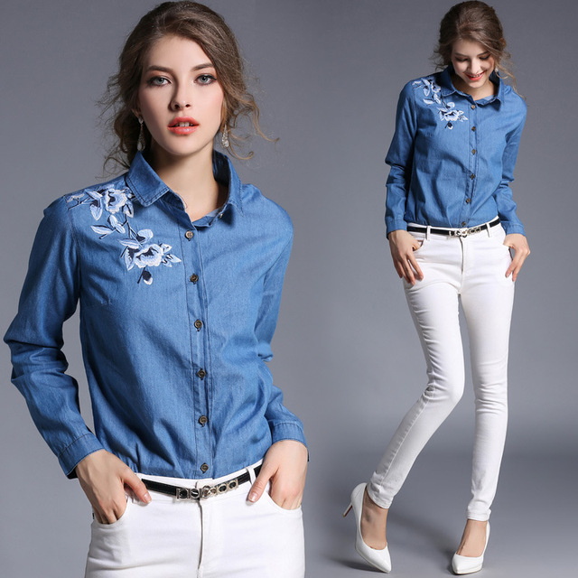 d9abb674f Resorte de las mujeres Camisa Manga Completo Turn-down Collar Blanco  Bordado Slim Fit Camisa