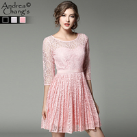 Spring Summer Runway Designer Womans Dress Black Gray Pink Mini Pleated Lace Dress Fashion Cute High