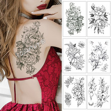 Big Rose Peony Lily Lotus Henna Flower Waterproof Temporary Tattoo Sticker Black Tatto Body Art Arm Hand Fake Tatoo For Women(China)