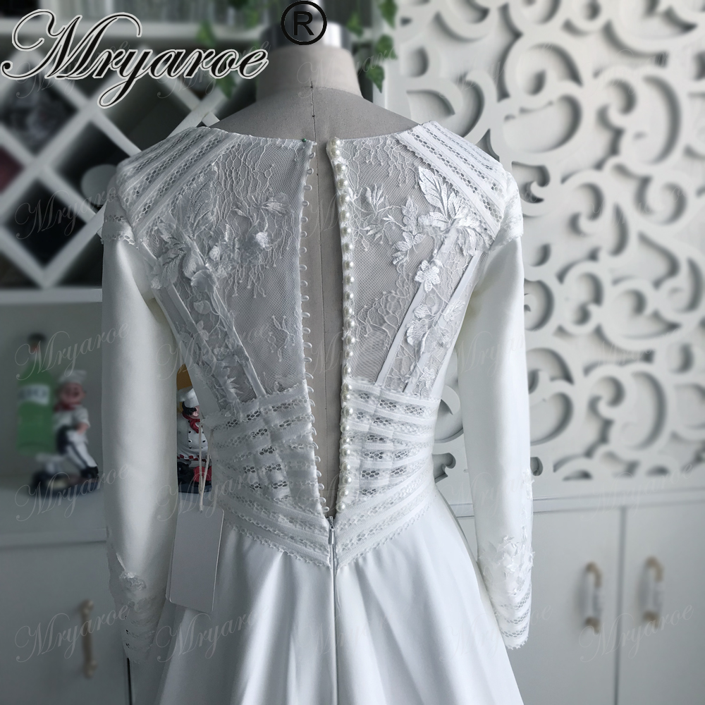 Discount Simple Elegant Open Back Long Sleeve Wedding: Mryarce Simple Elegant Modest Muslim Wedding Dress Lace