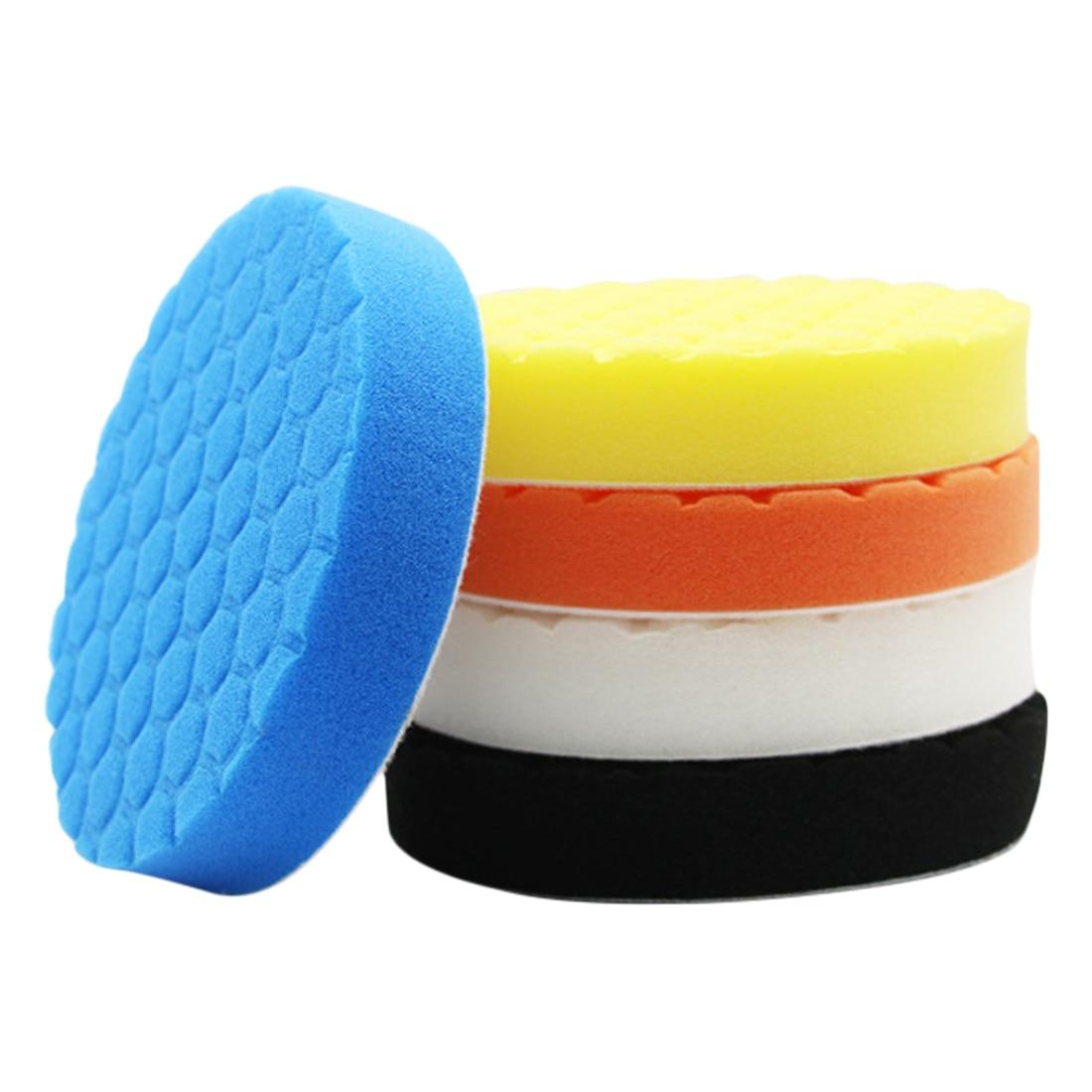 3pcs Hexagonal Polished Sponge Disc Buffing Sponge Polishing Pad Kit Set For Car Polisher Buffer 3/4/5/6/7inch
