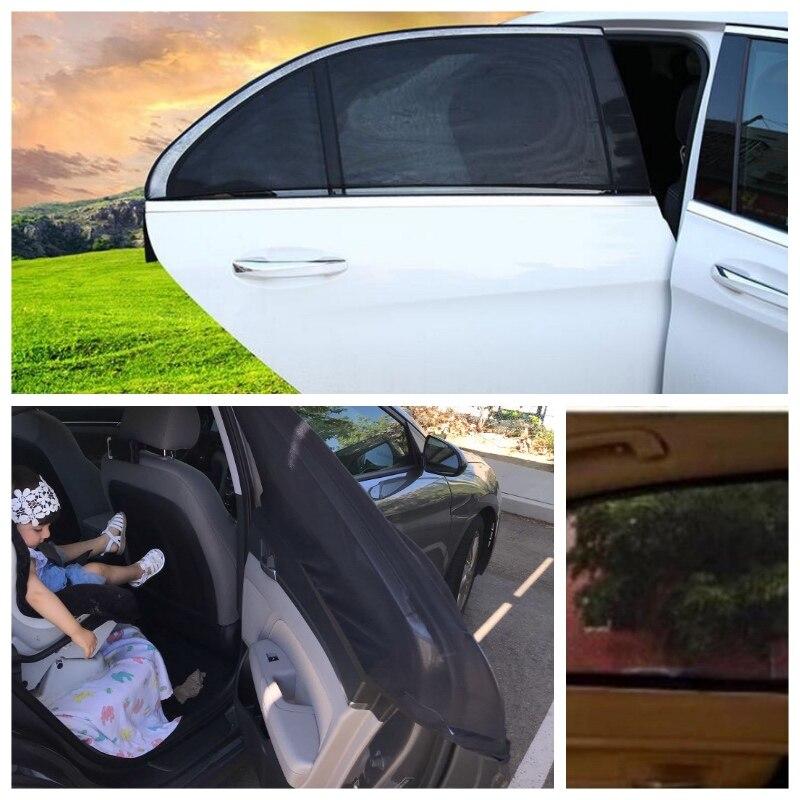 DropShipping 2Pcs Car Sun Shade UV Protection Car Curtain Car Window Sunshade Side Window Mesh Sun Visor