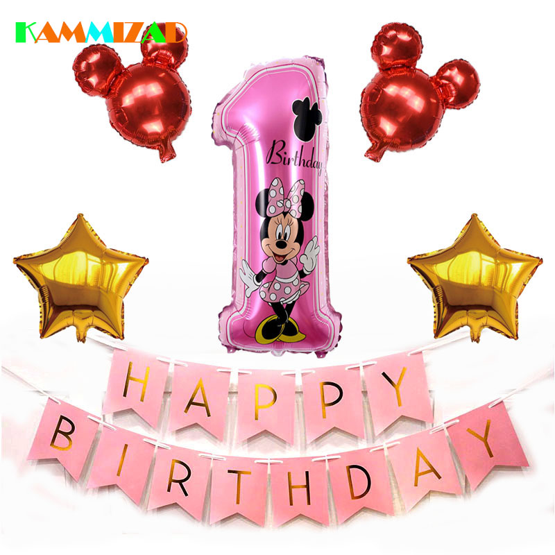 Mickey Minnie First Birthday Baby Shower Balloon 7pcs/lot 1st Birthday Party Balloons Aluminium Foil Party Decoration Supplies