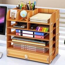 DIY שולחן עבודה רב שכבתי תיבת אחסון ספרי מסמכים אחסון מדף פשוט מתלה גימור שולחן העבודה מדף ספרים ציוד משרדי