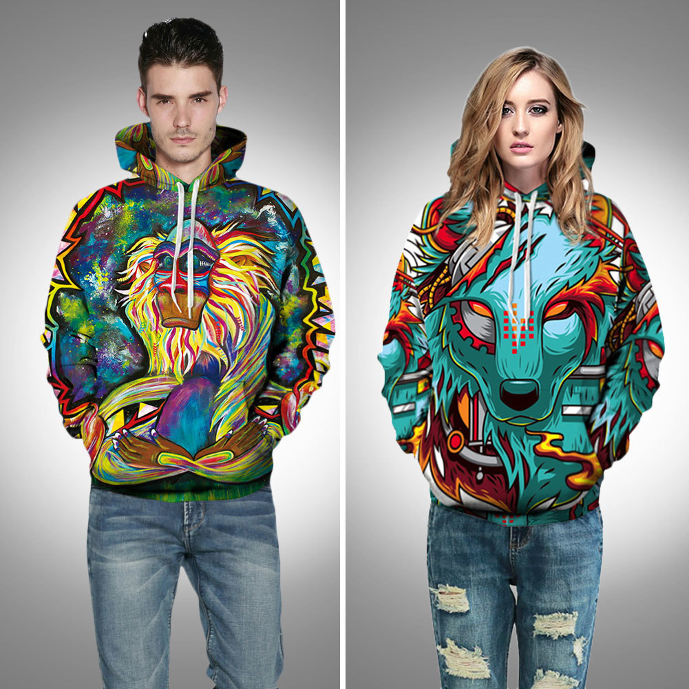 New Hiphop Hoodies Style Colorful Clouds 3D Printed Tiger Animal Women Hooded Sweatshirt ...