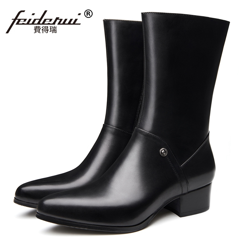 New Arrival Designer High Top Man Formal Shoes Genuine Leather Pointed Toe High Heels Men s