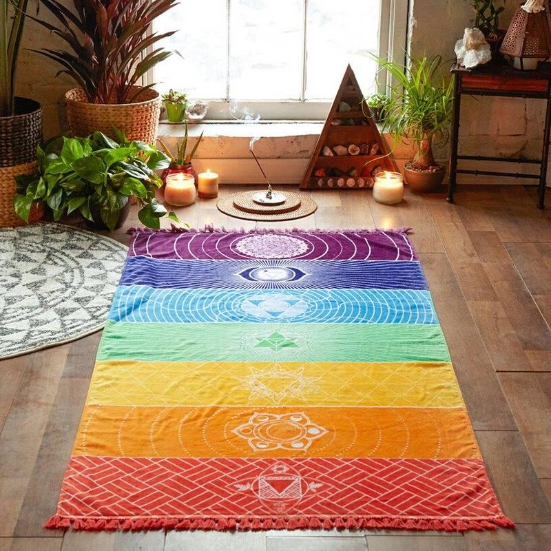 150x75cm Yoga Mat Tapestry Rainbow 7 Colors Stripes Beach Towel Summer Wall Hanging Mandala Blanket Travel Sunscreen Shawl
