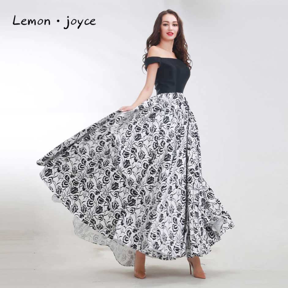 Vintage Prom Dresses 2020 New Dasign Boat Neck Sleeveless Flower Pattern  Dress Long Party Maxi Formal Gowns Plus Size Black