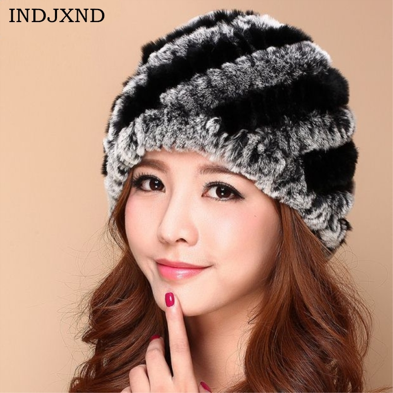 INDJXND Women's 2017 New Casual Hat Winter Tide Warm Hats Fur Rabbit Pineapple Fur Cap Striped Knit Caps Protect Ear 16 Colors rabbit hair lady autumn winter new weaving small pineapple fur hat in winter to keep warm very nice and warm comfortable