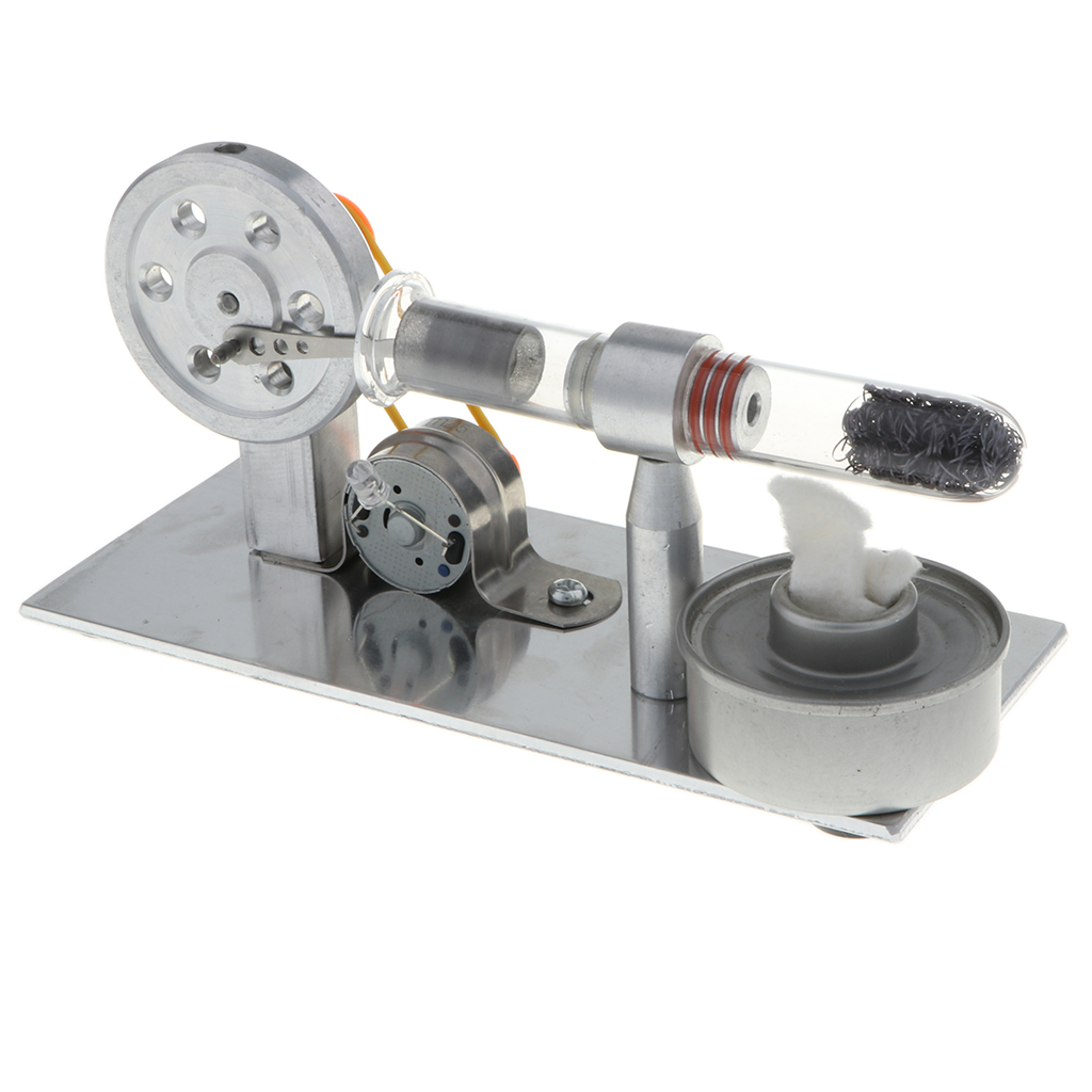 Hot Air Flywheel Stirling Engine Electricity Generator Model Physical Science DIY Kits WIth Colorful LED Electricity Generator