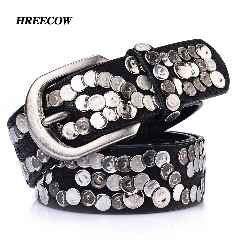 Genuine Leather Woman Metal Plate Punk Belt Female Wide Cowhide Hiphop Rock Rivet Strap Cinto Men Ceinture Black